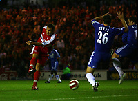 Photo: Andrew Unwin.<br /> Middlesbrough v Chelsea. The Barclays Premiership. 23/08/2006.<br /> Middlesbrough's Mark Viduka (L) scores his team's second goal.