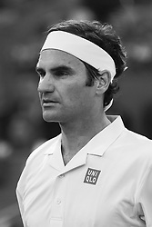 May 7, 2019 - Madrid, Spain - (EDITOR'S NOTE: Image was converted to black and white) Roger Federer (SUI) in his match against Richard Gasquet (FRA) during day four of the Mutua Madrid Open at La Caja Magica in Madrid on 7th May, 2019. Spain  (Credit Image: © Oscar Gonzalez/NurPhoto via ZUMA Press)