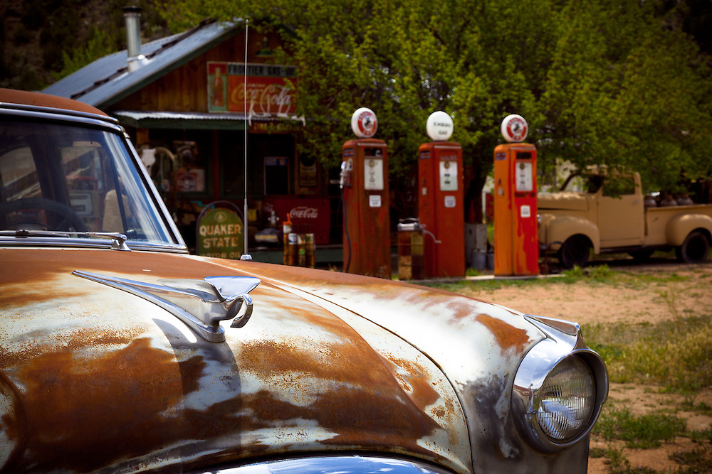An old gas station near Taos, New Mexico.
