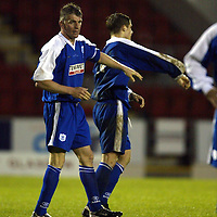 St Johnstone v Newcastle Utd Jim Weir Testimonial..08.05.04  <br />Jim Weir pushes away Ross Forsyth after he got in a scuffle<br /><br />Picture by Graeme Hart.<br />Copyright Perthshire Picture Agency<br />Tel: 01738 623350  Mobile: 07990 594431