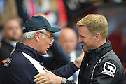 Leicester City's manager Claudio Ranieri and Bournemouth Manager Eddie Howe during the Barclays Premier League match between Bournemouth and Leicester City at the Goldsands Stadium, Bournemouth, England on 29 August 2015. Photo by Mark Davies.