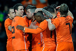 09-02-2011 VOETBAL: NEDERLAND - OOSTENRIJK: EINDHOVEN<br /> Netherlands in a friendly match with Austria won 3-1 / Klaas-Jan Huntelaar NED took his tenth goal in his last six games for 2-0 and celebrate this with Theo Janssen 8, Ibrahim Afellay, Erik Pieters, Peter Wisgerhof and Mark van Bommel<br /> ©2011-WWW.FOTOHOOGENDOORN.NL