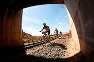 GREYTON, SOUTH AFRICA - riders cross under the R43 on the railway tracks during stage five of the Absa Cape Epic Mountain Bike Stage Race held between Greyton and Oak Valley ( Elgin / Grabouw ) on the 26 March 2009 in the Western Cape, South Africa..Photo by Sven Martin  /SPORTZPICS
