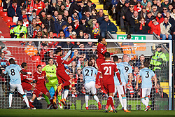 LIVERPOOL, ENGLAND - Saturday, February 24, 2018: Liverpool's Emre Can scores the first goal during the FA Premier League match between Liverpool FC and West Ham United FC at Anfield. (Pic by David Rawcliffe/Propaganda)