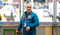 KELOWNA, CANADA - NOVEMBER 18: John, a volunteer usher with the Kelowna Rockets stands at the gate against the Vancouver Giants on November 18, 2016 at Prospera Place in Kelowna, British Columbia, Canada.  (Photo by Marissa Baecker/Shoot the Breeze)  *** Local Caption ***