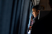 30.MARCH.2012. WASHINGTON D.C<br /> <br /> PRESIDENT BARACK OBAMA LOOKS OUT THE WINDOW OF MARINE ONE AS HE DEPARTS THE WHITE HOUSE SOUTH LAWN EN ROUTE TO JOINT BASE ANDREWS, MD, FOR A TRIP TO VERMONT, MARCH 30, 2012.  <br /> <br /> BYLINE: EDBIMAGEARCHIVE.COM<br /> <br /> *THIS IMAGE IS STRICTLY FOR UK NEWSPAPERS AND MAGAZINES ONLY*<br /> *FOR WORLD WIDE SALES AND WEB USE PLEASE CONTACT EDBIMAGEARCHIVE - 0208 954 5968*
