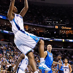 November 17, 2010; New Orleans, LA, USA; New Orleans Hornets small forward Trevor Ariza (1) dunks during the second half against the Dallas Mavericks at the New Orleans Arena. The Hornets defeated the Mavericks 99-97. Mandatory Credit: Derick E. Hingle