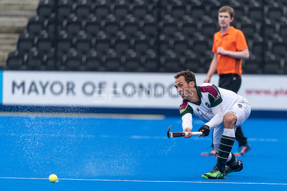 Surbiton's Lewis Prosser. Surbiton v Beeston - Men's Hockey League Finals, Lee Valley Hockey & Tennis Centre, London, UK on 28 April 2018. Photo: Simon Parker
