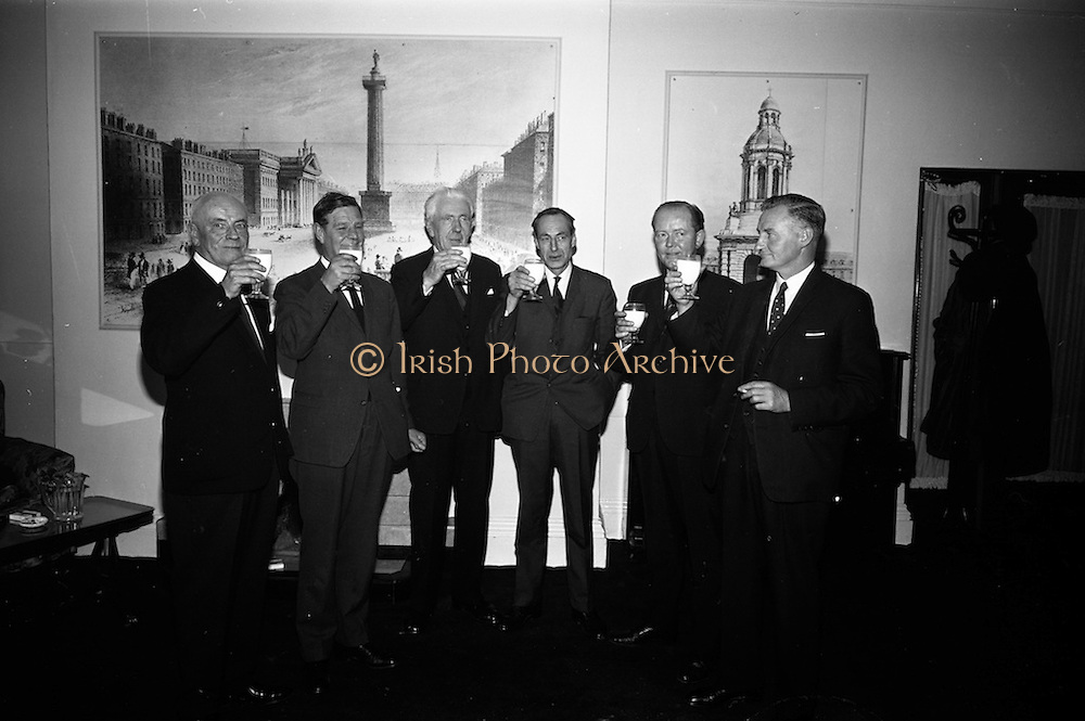 11/10/1966<br /> 10/11/1966<br /> 11 October 1966<br /> Press conference to announce merger of Dublin Dairies at Jury's Hotel, Dublin. Directors of three Dublin Dairies, Dublin Dairies Ltd., Merville Dairies Ltd. and Sutton's Tel-el-Kebir Dairy Ltd., announced the merger subject to ratification by shareholders. A new company, Premier Dairies Ltd. had been created to co-ordinate the three companies. Picture shows: George Sutton, Tel-el-Kebir Dairy Ltd.; Eric Craigie, Merville Dairies Ltd.; Patrick Power, Dublin dairies; Victor Craigie, Merville Dairies Ltd.; Robert Motyer, Suttons Tel-el-Kebir Dairy Ltd. and John Fitzgerald, Dublin Dairies Ltd. toast the merger with glasses of milk.