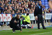 Charlton Athletic's manager Guy Luzon and Reading's Manager Steve Clarke during the Sky Bet Championship match between Reading and Charlton Athletic at the Madejski Stadium, Reading, England on 17 October 2015. Photo by Mark Davies.