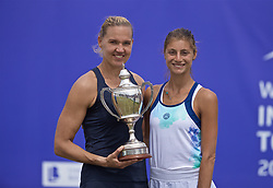 LIVERPOOL, ENGLAND - Sunday, June 23, 2019: Kaia Kanepi (EST) (L) with the Boodles & Dunthorne Trophy and runner-up Corinna Dentoni (ITA) after the Ladies' Final on Day Four of the Liverpool International Tennis Tournament 2019 at the Liverpool Cricket Club. Kanepi beat Dentoni 6-2, 6-2. (Pic by David Rawcliffe/Propaganda)