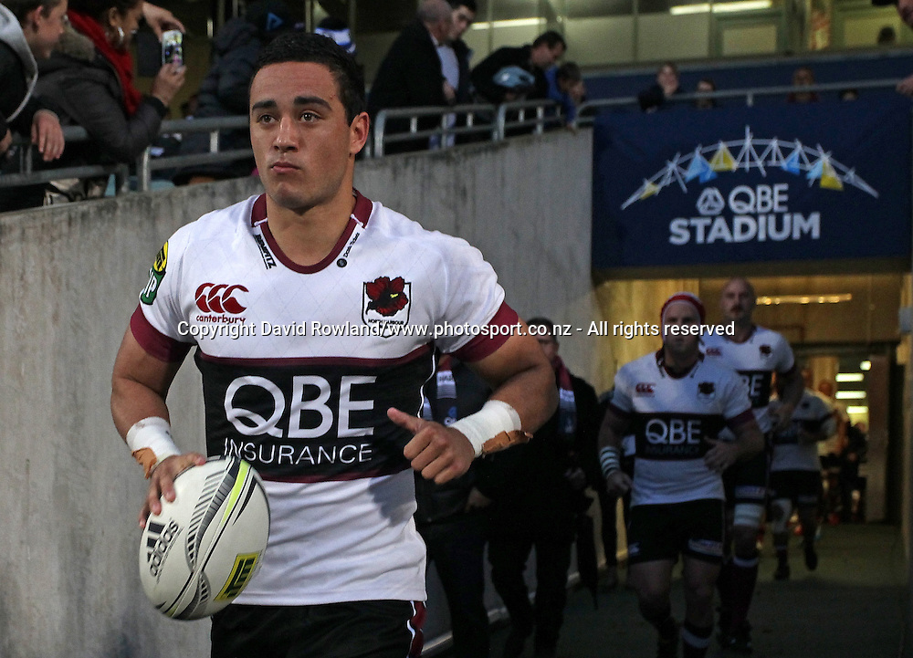 North Harbour`s captain Bryn Hall leads his team out for an ITM Cup Rugby Match, North Harbour v Manawatu, QBE Stadium, Auckland, New Zealand, Friday, September 12, 2014. Photo: David Rowland/Photosport
