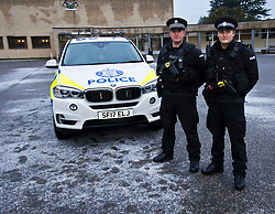 EMBARGOED UNTILL 16:00 14 DECEMBER 2017<br /> <br /> Pictured: Two Armed Firearms Officers with their  Armed Response Vehicle outside Tulliallan Police College<br /> <br /> <br /> Ger Harley | EEm 14 December 2017