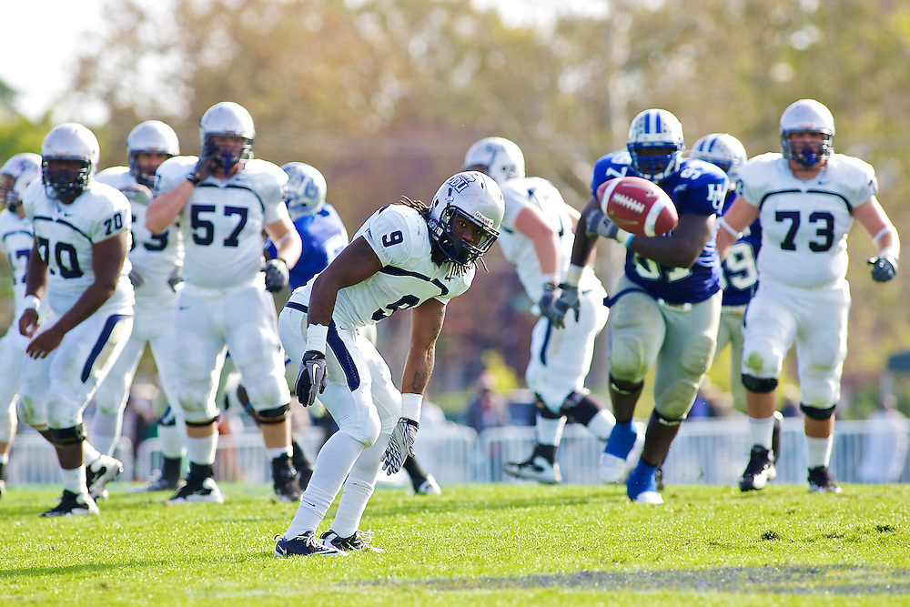Oct 30, 2010; Hampton VA, USA; Old Dominion running back Desmond Williams (9) watches an incomplete pass go by him against the Hampton Pirates at Armstrong Stadium. Old Dominion won 28-14. Mandatory Credit: Peter J. Casey