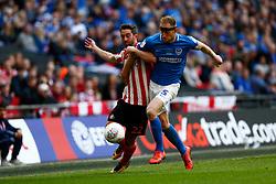 Matthew Clarke of Portsmouth Will Grigg of Sunderland battles for possession. - Mandatory by-line: Phil Chaplin/JMP - 31/03/2019 - FOOTBALL - Wembley Stadium - London, England - Portsmouth v Sunderland - Checkatrade Trophy Final