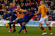 A strike from close range from Uche Ikpeazu of Hearts is saved during the Ladbrokes Scottish Premiership match between Motherwell and Heart of Midlothian at Fir Park, Motherwell, Scotland on 17 February 2019.