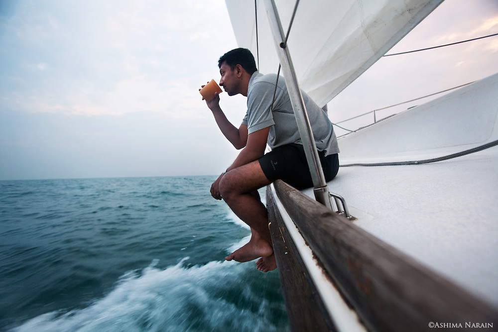 Lieutenant Commander Abhilash Tomy aboard the 56 foot Mhadei. This ex-recon pilot sailed 40,000km around the world non-stop and alone. He is the 1st Indian and about the 80th person in the world to have accomplished this.<br />