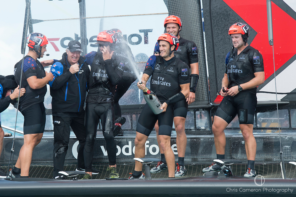 The Great Sound, Bermuda 12th June 2017. Emirates Team New Zealand sailors celebrate with Team Principal Matteo DeNora (2nd from L) after winning the Louis Vuitton America's Cup Challenger series.