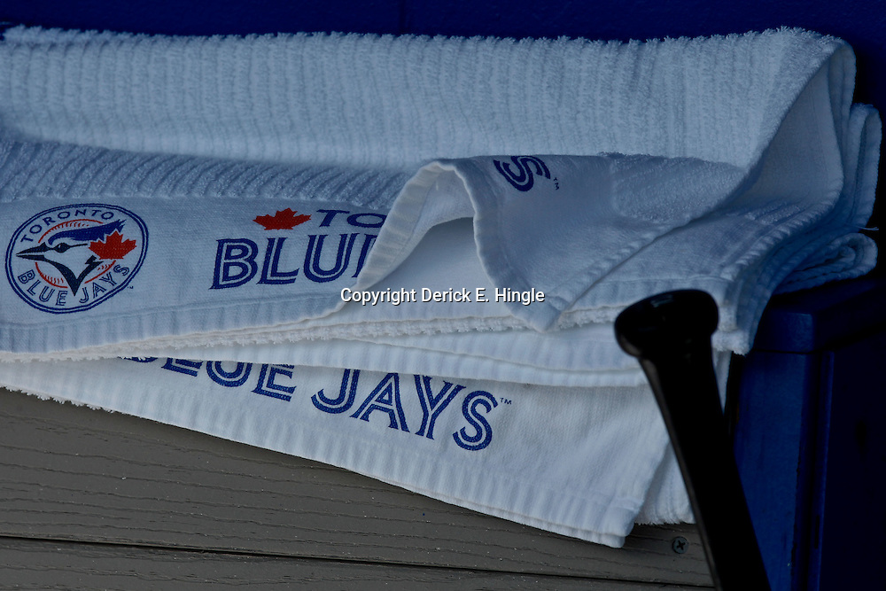 March 12, 2012; Dunedin, FL, USA; A detail of a baseball bat and Toronto Blue Jays towels in the dugout before a spring training game against the Baltimore Orioles at Florida Auto Exchange Stadium. Mandatory Credit: Derick E. Hingle-US PRESSWIRE