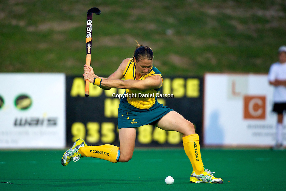 Nicole Arrold winds up to score a goal. Hockeyroos v New Zealand International Hockey match. Curtin Hockey Stadium, Perth. Wednesday 17 February 2010. Photo: Daniel Carson/PHOTOSPORT
