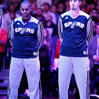 18 February 2014: San Antonio Spurs point guard Patty Mills (8) and San Antonio Spurs point guard Nando de Colo (25) are seen during the national anthem prior to the San Antonio Spurs 113-103 victory over the Los Angeles Clippers at the Staples Center, Los Angeles, California, USA.