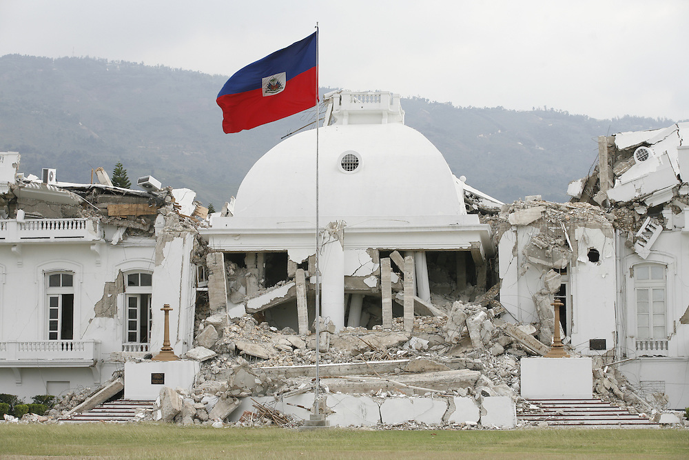 Haiti's National Palace lies in ruins after a 7.0 magnitude earthquake on Jan 12th devastated the nation, Port-au-Prince, Haiti, Friday, Feb. 19, 2010. (Photo/Stuart Ramson for United Nations Foundation)