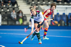 Surbiton's Georgie Twigg. University of Birmingham v Surbiton - Semi-Final - Investec Women's Hockey League Finals, Lee Valley Hockey & Tennis Centre, London, UK on 22 April 2017. Photo: Simon Parker