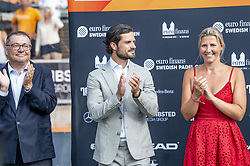 July 29, 2018 - BÅ'Stad, Sverige - 180729 Ramon Agenjo, president of the World Padel Tour, H.K.H. Prins Carl Philip och Kristina Gustavsson under prisutdelningen efter under i Swedish Padel Open den 29 juli 2018 i BÅ'stad  (Credit Image: © Christian …Rnberg/Bildbyran via ZUMA Press)