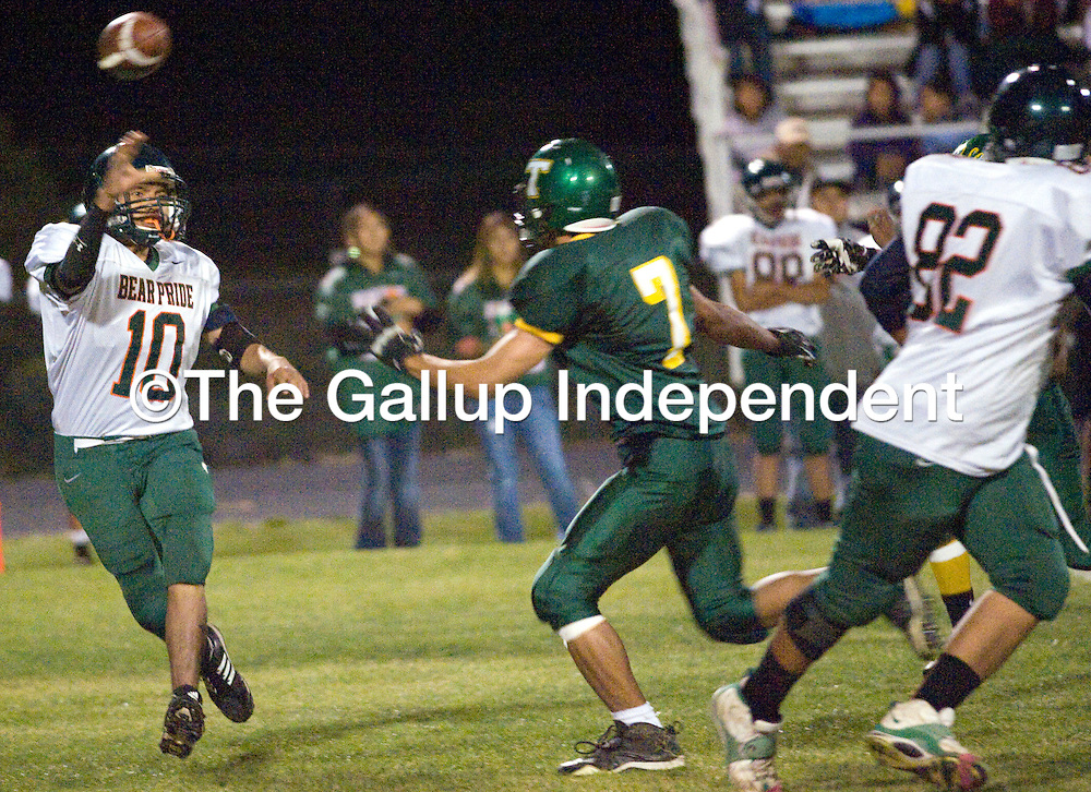 101912       Adron Gardner<br /> <br /> Wingate Bear Julian Martin (10) fires a pass to a teammate inThoreau Friday.