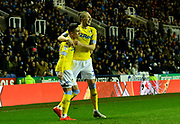 Goal - Pablo Hernandez (19) of Leeds United celebrates scoring a goal to give a 0-3 lead to the away team during the EFL Sky Bet Championship match between Reading and Leeds United at the Madejski Stadium, Reading, England on 12 March 2019.