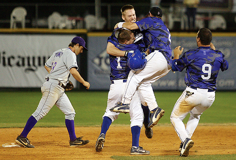 UNO celebrates the game winning double against the LSU Tigers hit by by Brandon Bowser.