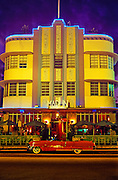 Image of art deco building at night at South Miami Beach, Miami Florida