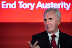 © Licensed to London News Pictures. 23/09/2018. Liverpool, UK. Shadow Chancellor of the Exchequer John McDonnell speaks at a fringe event at the Labour Party Conference. Photo credit: Rob Pinney/LNP