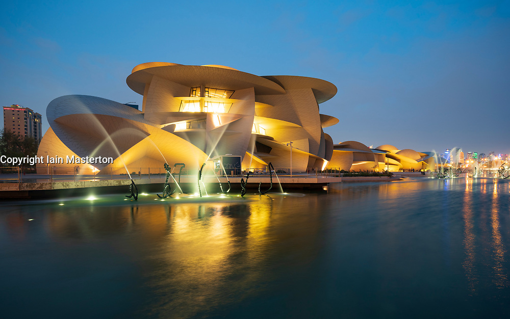 View of new National Museum of Qatar in Doha , Qatar. Architect Jean Nouvel.