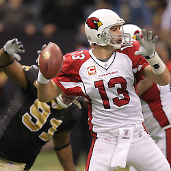 16 January 2010:  Arizona Cardinals quarterback Kurt Warner (13) throws the ball during a 45-14 win by the New Orleans Saints over the Arizona Cardinals in a 2010 NFC Divisional Playoff game at the Louisiana Superdome in New Orleans, Louisiana.