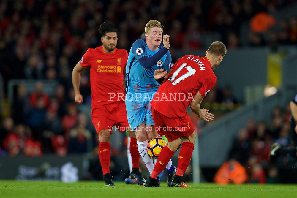 LIVERPOOL, ENGLAND - Saturday, December 31, 2016: Liverpool's Ragnar Klavan tackles Manchester City's Kevin De Bruyne during the FA Premier League match at Anfield. (Pic by David Rawcliffe/Propaganda)