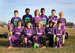 24 January 2016. Houma, Louisiana. <br /> New Orleans Jesters Youth Academy U10 Green vs Lafourche Legacy U11's. Team Photo.<br /> Photo©; Charlie Varley/varleypix.com