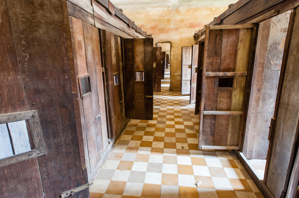 Cells corridor at Tuol Sleng Khmer Rouge Prison in Phnom Penh (Cambodia).