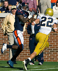 Virginia wide receiver Kevin Ogletree (20) brings in a touchdown catch against GT.  The Virginia Cavaliers defeated the #18 ranked Georgia Tech Yellow Jackets 24-17 in NCAA Division 1 Football at Bobby Dodd Stadium on the campus of Georgia Tech in Atlanta, GA on October 25, 2008.