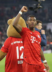 25.01.2020, Allianz Arena, Muenchen, GER, 1. FBL, FC Bayern Muenchen vs Schalke 04, 19. Runde, im Bild David Alaba jubelt nach Spielende // during the German Bundesliga 19th round match between FC Bayern Muenchen and Schalke 04 at the Allianz Arena in Muenchen, Germany on 2020/01/25. EXPA Pictures © 2020, PhotoCredit: EXPA/ SM<br /> <br /> *****ATTENTION - OUT of GER*****