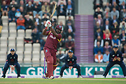 Chris Gayle of West Indies hits a six off the bowling of Jake Ball during the One Day International match between England and West Indies at the Ageas Bowl, Southampton, United Kingdom on 29 September 2017. Photo by Dave Vokes.