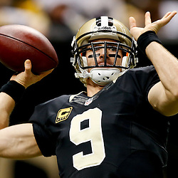 Dec 8, 2013; New Orleans, LA, USA; New Orleans Saints quarterback Drew Brees (9) prior to a game against the Carolina Panthers at Mercedes-Benz Superdome. Mandatory Credit: Derick E. Hingle-USA TODAY Sports