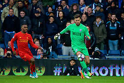 WEST BROMWICH, ENGLAND - Easter Sunday, April 16, 2017, 2016: West Bromwich Albion's goalkeeper Ben Foster chases the ball in the Liverpool half as his side chase a late equaliser during the FA Premier League match at the Hawthorns. (Pic by David Rawcliffe/Propaganda)