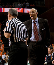 Virginia head coach Dave Leitao argues a call with an official.  The Virginia Cavaliers men's basketball team faced the #3 ranked North Carolina Tar Heels  at the John Paul Jones Arena in Charlottesville, VA on February 12, 2008.