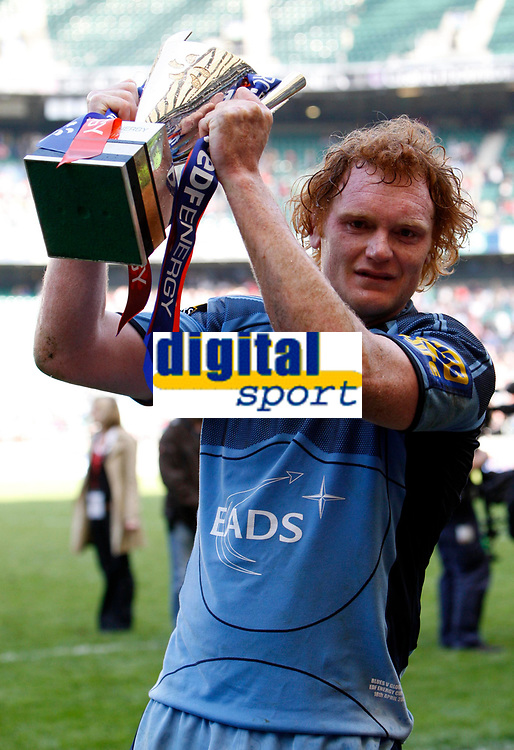 Photo: Richard Lane/Richard Lane Photography. Gloucester Rugby v Cardiff Blues. Anglo Welsh EDF Energy Cup Final. 18/04/2009. Blues' Paul Tito celebrates with the Cup.