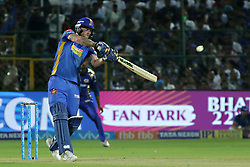 April 22, 2018 - Jaipur, Rajasthan, India - Rajasthan Royals batsman Ben Stokes plays a shot during the IPL T20 match against  Mumbai Indians  at Sawai Mansingh Stadium in Jaipur on 22 April,2018.(Photo By Vishal Bhatnagar/NurPhoto) (Credit Image: © Vishal Bhatnagar/NurPhoto via ZUMA Press)
