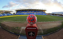 A general view of the Emirates FA Cup match ball at Peterborough United's ABAX Stadium - Mandatory byline: Joe Dent/JMP - 10/02/2016 - FOOTBALL - ABAX Stadium - Peterborough, England - Peterborough United v West Brom - FA Cup Forth Round Replay