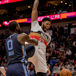 Jan 7, 2019; New Orleans, LA, USA; New Orleans Pelicans forward Anthony Davis (23) dunks and celebrates as Memphis Grizzlies forward JaMychal Green (0) defends during the second half at the Smoothie King Center. Mandatory Credit: Derick E. Hingle-USA TODAY Sports