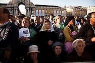 Believers during the mass celebrated by Pope Benedict XVI for thousands of people on the most important square in the country. The pope is on a four-day visit to Portugal, one of the countries with the highest percentage of Catholics in Europe, Lisbon, Portugal.
