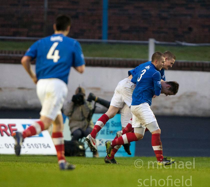 Cowdenbeath's John Armstrong cele scoring their third goal..Cowdenbeath 4 v 1 Falkirk, 9/2/2013..©Michael Schofield.